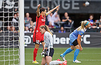 Portland, Oregon - Wednesday June 22, 2016: Portland Thorns FC forward Christine Sinclair (12) reacts after scoring a goal during a regular season National Women's Soccer League (NWSL) match at Providence Park.