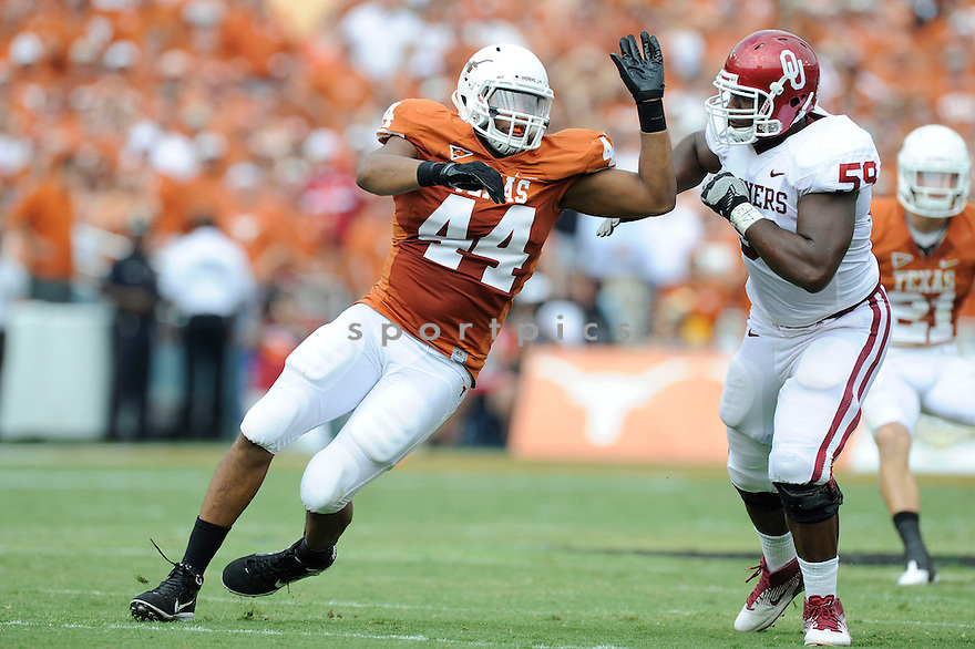 Texas Longhorns Jackson Jeffcoat (44) in action during a game against Oklahoma at Gaylord Family Oklahoma Memorial Stadium on October 8, 2011 in Norman, OK. Oklahoma beat Texas 55-17.