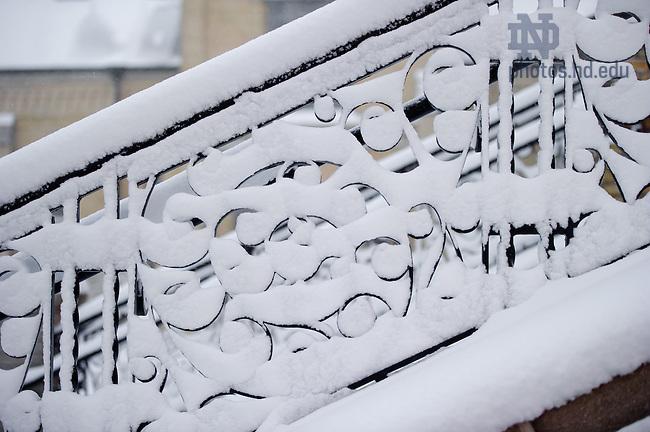 Jan. 22, 2013; Main Building steps after a snowfall...Photo by Matt Cashore/University of Notre Dame