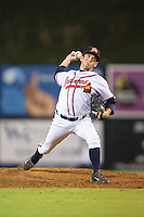 Danville Braves relief pitcher Cameron Stanton (32) in action against the Burlington Royals at American Legion Post 325 Field on August 16, 2016 in Danville, Virginia.  The game was suspended due to a power outage with the Royals leading the Braves 4-1.  (Brian Westerholt/Four Seam Images)