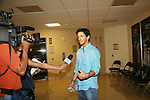 Bold and The Beautiful's Brandon Beemer being interviewed at Soapstar Spectacular presented by KDKA-TV stars Y&R, BB, GL and ATWT on June 13, 2010 at the Petersen Events Center, University of Pittsburgh, PA and benefited the Susan G. Komen for the Cure Pittsburgh Affiliate. (Photo by Sue Coflin/Max Photos)