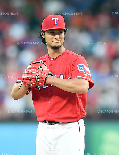 Yu Darvish (Rangers), JUNE 8, 2016 - MLB : Texas Rangers starting pitcher Yu Darvish smiles during the MLB game between the Houston Astros and the Texas Rangers at Globe Life Park in Arlington, United States. (Photo by AFLO)