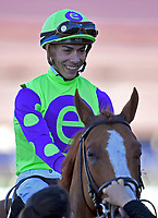 DEL MAR, CA - NOVEMBER 04: Jose Ortiz, aboard Good Magic #6, smiles after winning the Sentient Jet Breeders' Cup Juvenile race on Day 2 of the 2017 Breeders' Cup World Championships at Del Mar Racing Club on November 4, 2017 in Del Mar, California. (Photo by Jamey Price/Eclipse Sportswire/Breeders Cup)