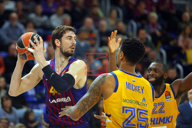 Turkish Airlines Euroleague 2018/2019. <br /> Regular Season-Round 30.<br /> FC Barcelona Lassa vs Khimki Moscow Region: 83-74. <br /> Ante Tomic vs Jordan Mickey.