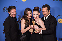 Accepting the Golden Globe for BEST TELEVISION SERIES - MUSICAL OR COMEDY for &quot;The Marvelous Mrs. Maisel&quot; (AMAZON) are Michael Zegen, Marin Hinkle, Rachel Brosnahan and Tony Shalhoub at the 75th Annual Golden Globe Awards at the Beverly Hilton in Beverly Hills, CA on Sunday, January 7, 2018.<br /> *Editorial Use Only*<br /> CAP/PLF/HFPA<br /> &copy;HFPA/PLF/Capital Pictures