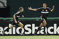 9 April 2005.  Mike Petke (12) celebrates his goal with DC United teammate Josh Gros (17)  at RFK Stadium in Washington, DC.