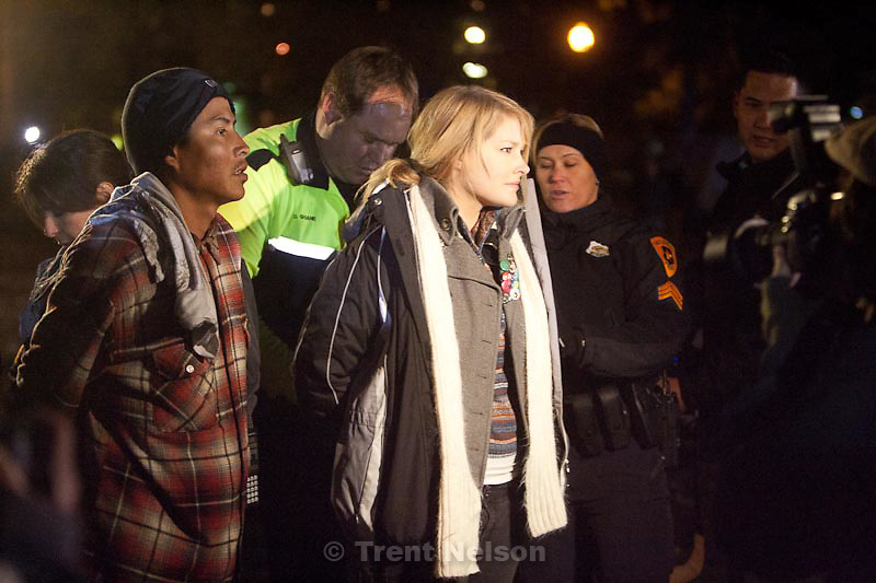 Trent Nelson  |  The Salt Lake Tribune.Salt Lake City police cleared the Occupy Salt Lake tent city from Pioneer Park in Salt Lake City, Utah, Saturday, November 12, 2011. activists arrested