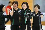 (L to R) Yumie Funayama, Kaho Onodera, Ayumi Ogasawara (Fortius), Miyo Ichikawa (Chuden), SEPTEMBER 17, 2013 - Curling : Olympic qualifying Japan Curling Championships Women's Final forth Mach between Fortius 8-5 Chuden at Dogin Curling Studium, Sapporo, Hokkaido, Japan. (Photo by Yusuke Nakanishi/AFLO SPORT)