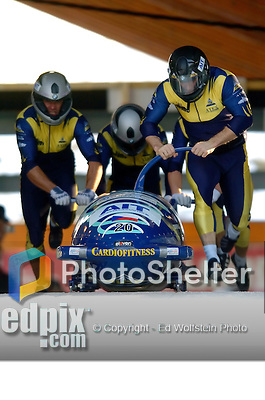 20 November 2005: Ivo Danilevic leads the Czech Republic 1 sled pushoff in the first run of the 2005 FIBT AIT World Cup Men's 4-Man Bobsleigh Tour, piloting the team to a 22nd place finish at the Verizon Sports Complex, in Lake Placid, NY. Mandatory Photo Credit: Ed Wolfstein.