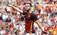 Calcio, Serie A: Roma vs ChievoVerona. Roma, stadio Olimpico, 8 maggio 2016.<br /> Roma's Miralem Pjanic gestures after scoring during the Italian Serie A football match between Roma and ChievoVerona at Rome's Olympic stadium, 8 May 2016.<br /> UPDATE IMAGES PRESS/Isabella Bonotto