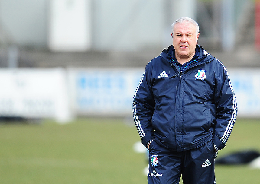 Italy&rsquo;s Head Coach Andrea Di Giandomenico during the pre match warm up<br /> <br /> Photographer Kevin Barnes/CameraSport<br /> <br /> International Women's Rugby Union - RBS Women's Six Nations Championships 2016 Round 5 - Wales Women v Italy Women - Sunday 20th March 2016 - Aberavon RFC, Port Talbot<br /> <br /> &copy; CameraSport - 43 Linden Ave. Countesthorpe. Leicester. England. LE8 5PG - Tel: +44 (0) 116 277 4147 - admin@camerasport.com - www.camerasport.com