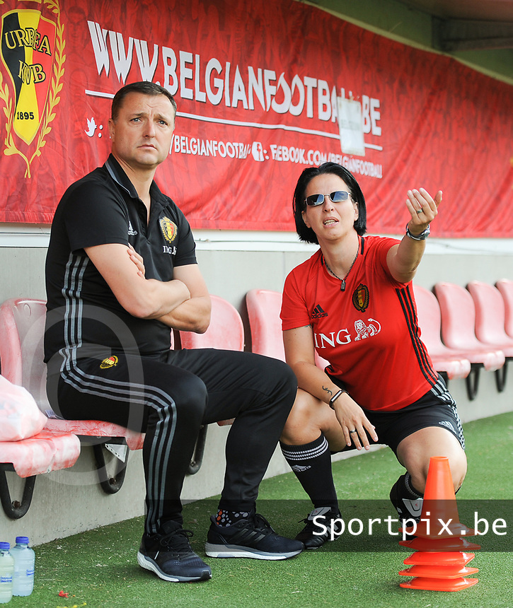 20170613 - LEUVEN ,  BELGIUM : Belgian coach Ives Serneels with assistant coach Tamara Cassimon (R) pictured during the female soccer game between the Belgian Red Flames and Japan , a friendly game before the European Championship in The Netherlands 2017  , Tuesday 13 th Juin 2017 at Stadion Den Dreef  in Leuven , Belgium. PHOTO SPORTPIX.BE | DIRK VUYLSTEKE