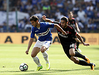 Calcio, Serie A: Genova, Stadio Luigi Ferraris, 24 settembre 2017. <br /> Sampdoria's Bartosz Bereszynski (l) in action with Milan'  Ricardo Rodriguez (r) during the Italian Serie A football match between Sampdoria and Milan at Genova's Luigi Ferraris stadium. September 24, 2017.<br /> UPDATE IMAGES PRESS/Isabella Bonotto