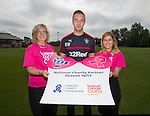 Danny Wilson with Rona Grierson and Ali MacIntyre from Brest Cancer Care the new charity partner for this season