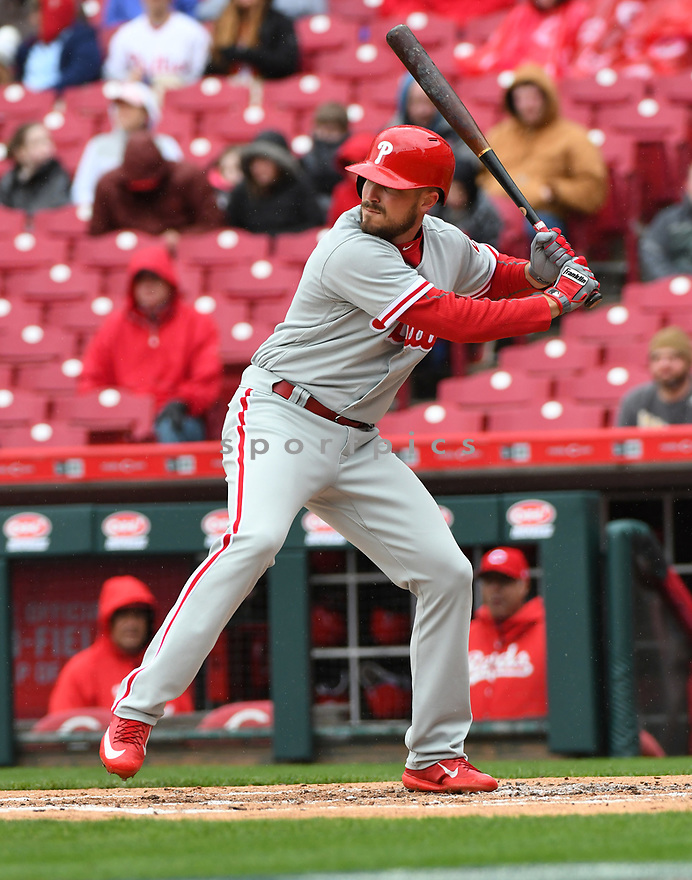 Philadelphia Phillies Brock Stassi (41) during a game against the Cincinnati Reds on April 6, 2017 at Great American Ballpark in Cincinnati, OH. The Reds beat the Phillies 4-7.