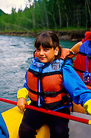 Girl, Whitewater rafting (with Glacier Raft Company), Flathead Valley, near West Glacier, Montana USA