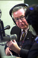 D&K :	Montreal, 2000-10-30<br /> The leader of the Canadian Progressive-Conservative Party (PC) and former Canadian Prime-Minister ;  the Honorable Joe Clark was campaigning in Montreal (Quebec, CANADA) today (October 30, 2000).<br /> He is seen here giving a interview and answering auditors at CJAD local radio,<br /> .<br /> Photo : Pierre Roussel - Images Distribution