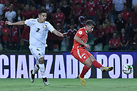 ARMENIA - COLOMBIA, 02-02-2020: Matias Pisano del América disputa el balón con Jonathan Muñoz de Chicó durante partido por la fecha 3 de la Liga BetPlay DIMAYOR I 2020 entre América de Cali y Boyacá Chicó jugado en el estadio Centenario de la ciudad de Armenia. / Matias Pisano of America struggles the ball with Jonathan Muñoz of Chico during match for the for the date 3 as part of BetPlay DIMAYOR League I 2020 between America de Cali and Boyaca Chico played at Centenario stadium in Armenia city. Photo: VizzorImage / Gabriel Aponte / Staff