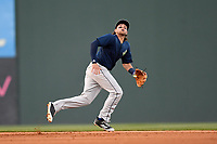 Second baseman Blake Tiberi (3) of the Columbia Fireflies plays defense in a game against the Greenville Drive on Tuesday, April 17, 2018, at Fluor Field at the West End in Greenville, South Carolina. Columbia won, 7-5. (Tom Priddy/Four Seam Images)