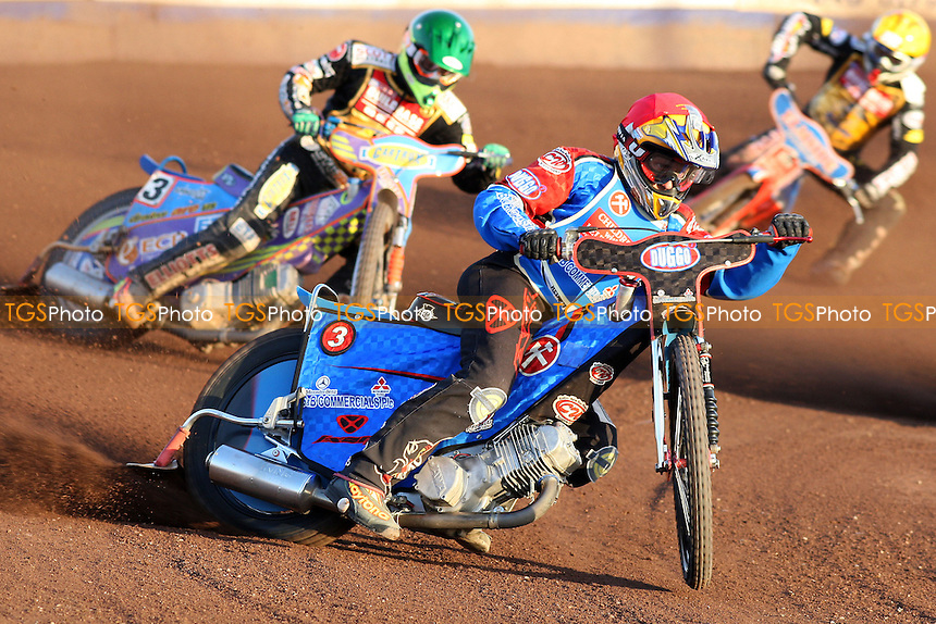 Heat 5: Adam Shields (red) ahead of Rory Schlein (green) and Oliver Allen - Lakeside Hammers vs Coventry Bees - Elite League Speedway at Arena Essex, Purfleet - 30/06/08 - MANDATORY CREDIT: Gavin Ellis/TGSPHOTO - Self billing applies where appropriate - Tel: 0845 094 6026.
