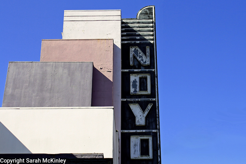 The purple-painted building and sign to the Noyo Theater in Willits in Mendocino County in Northern California.