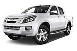 Stock pictures of low aggressive front three quarter view of a 2015 Isuzu D-Max LSX 4 Door Pickup 2WD Low Aggressive