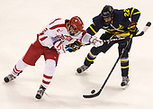 Jordan Greenway (BU - 18), Mathieu Tibbet (Merrimack - 22) - The visiting Merrimack College Warriors defeated the Boston University Terriers 4-1 to complete a regular season sweep on Friday, January 27, 2017, at Agganis Arena in Boston, Massachusetts.The visiting Merrimack College Warriors defeated the Boston University Terriers 4-1 to complete a regular season sweep on Friday, January 27, 2017, at Agganis Arena in Boston, Massachusetts.