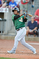 Clinton LumberKings Rafael Fernandez (10) swings during the game against the Cedar Rapids Kernels at Veterans Memorial Stadium on April 16, 2016 in Cedar Rapids, Iowa.  Cedar Rapids won 7-0.  (Dennis Hubbard/Four Seam Images)