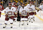 Matt Price (BC - 25), Barry Almeida (BC - 9), Brian Dumoulin (BC - 2), Carl Sneep (BC - 7) - The Boston College Eagles defeated the Harvard University Crimson 6-0 on Monday, February 1, 2010, in the first round of the 2010 Beanpot at the TD Garden in Boston, Massachusetts.
