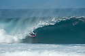 Unknown bodyboarder (BRZ) at Pipeline on the Northshore of Oahu in Hawaii.