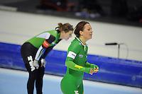SCHAATSEN: HEERENVEEN: IJsstadion Thialf, 10-11-2012, KPN NK afstanden, Seizoen 2012-2013, 3000m Dames, Nederlands kampioen, Diane Valkenburg, ©foto Martin de Jong
