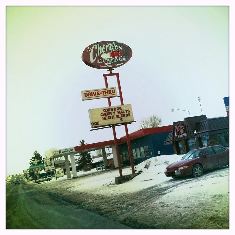 Cherries restaurant, selling corn dogs and cherry malts in Laramie, Wyoming.