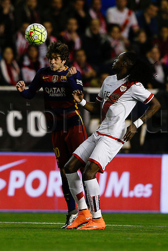 03.03.2016. Madrid, Spain.  Sergi Roberto Carnicer (20) FC Barcelona and Alhassane Bangoura (19) Rayo Vallecano. La Liga match between Rayo Vallecano and FC Barcelona at the Vallecas stadium in Madrid, Spain