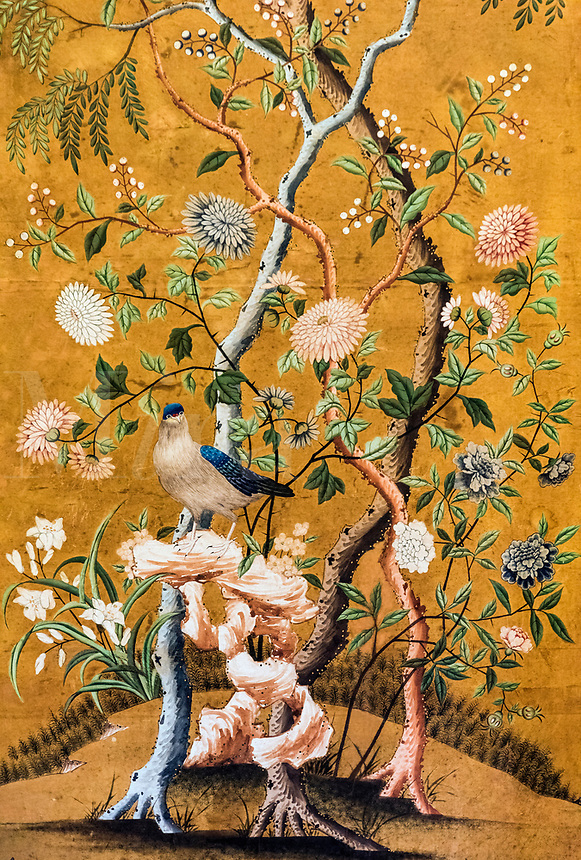 Antique hand painted Chinese wallpaper.