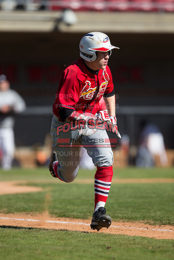 Matt Tarabek (19) of Hempfied Area High School in Greensburg, Pennsylvania playing for the St. Louis Cardinals scout team at the South Atlantic Border Battle at Doak Field on November 2, 2014.  (Brian Westerholt/Four Seam Images)