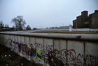 Glimpse into 'no man's land' - Berlin Wall west zone.18 November, 1989