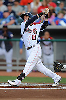 Tennessee Smokies second baseman Stephen Bruno #11 swings at a pitch during a game against Huntsville Stars at Smokies Park on April 25, 2014 in Kodak, Tennessee. The Stars defeated the Smokies 15-1. (Tony Farlow/Four Seam Images)