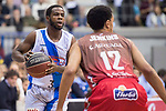 San Pablo Burgos John Jenkins and Gipuzkoa Basket Kenny Chery during Liga Endesa match between San Pablo Burgos and Gipuzkoa Basket at Coliseum Burgos in Burgos, Spain. December 30, 2017. (ALTERPHOTOS/Borja B.Hojas)