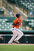 GCL Orioles second baseman Tyler Coolbaugh (6) follows through on a swing during a game against the GCL Rays on July 21, 2017 at Ed Smith Stadium in Sarasota, Florida.  GCL Orioles defeated the GCL Rays 9-0.  (Mike Janes/Four Seam Images)