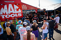 Jul 28, 2019; Sonoma, CA, USA; Fans surround the pit area of NHRA top fuel driver Doug Kalitta during the Sonoma Nationals at Sonoma Raceway. Mandatory Credit: Mark J. Rebilas-USA TODAY Sports