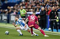 29th February 2020; Estadio Municipal de Butarque, Madrid, Spain; La Liga Football, Club Deportivo Leganes versus Deportivo Alaves; Kevin Rodriguez (CD Leganes) cuts inside away from Edgar Mendez (Deportivo Alaves)