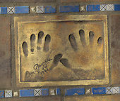 Hand print of the film star, Ben Gazzara, outside the Palais des Festivals et des Congres, Cannes, France.