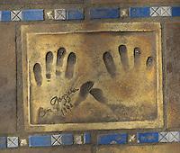 Hand print of the film star, Ben Gazzara, outside the Palais des Festivals et des Congres, Cannes, France.