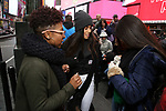 TyNia Rene Brandon Along with Actors' Equity members talk to Broadway audiences about why they are fighting for a better development contract with the Broadway League after the Union announced Monday a strike for all development work with the Broadway League. TKTS Booth, Duffy Square Neil January 8, 2019 in New York City.