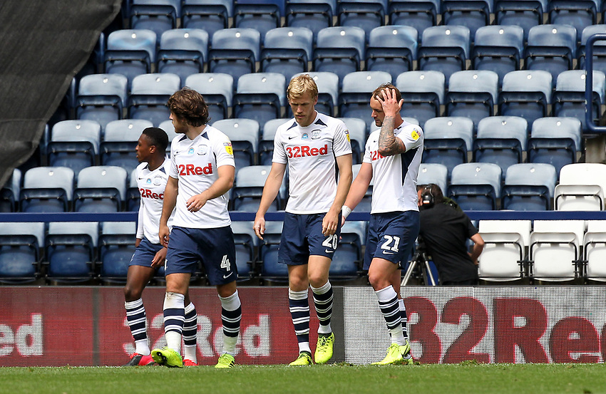 Preston North End's players look dejected<br /> <br /> Photographer Mick Walker/CameraSport<br /> <br /> The EFL Sky Bet Championship - Preston North End v Cardiff  City - Saturday 27th June 2020 - Deepdale Stadium - Preston<br /> <br /> World Copyright © 2020 CameraSport. All rights reserved. 43 Linden Ave. Countesthorpe. Leicester. England. LE8 5PG - Tel: +44 (0) 116 277 4147 - admin@camerasport.com - www.camerasport.com