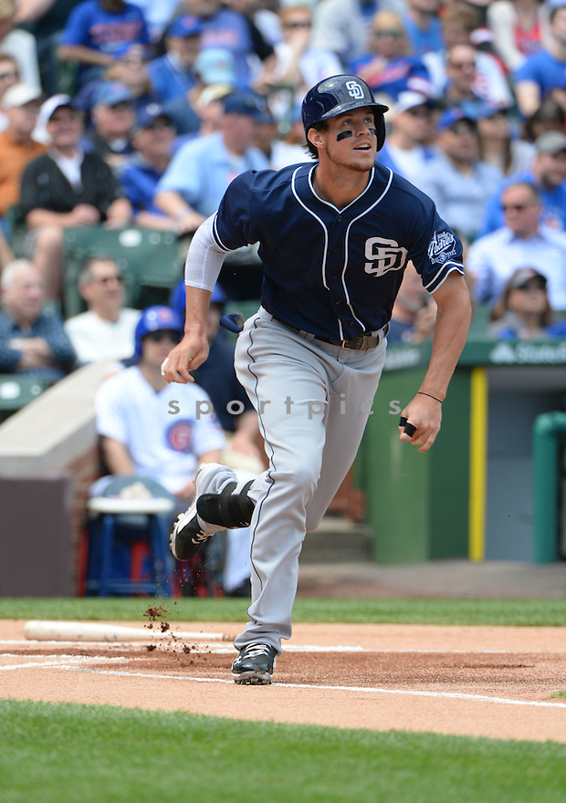 San Diego Padres Wil Myers (4) during a game against the Chicago Cubs on April 17, 2015 at Wrigley Field in Chicago, IL. The Padres beat the Cubs 5-4.