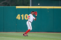 Florida Fire Frogs center fielder Cristian Pache (25) settles under a fly ball during a game against the Daytona Tortugas on April 7, 2018 at Osceola County Stadium in Kissimmee, Florida.  Daytona defeated Florida 4-3.  (Mike Janes/Four Seam Images)