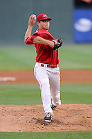 Pitcher Jalen Beeks (20) of the Greenville Drive delivers a pitch in a game against the Augusta GreenJackets on Thursday, June 11, 2015, at Fluor Field at the West End in Greenville, South Carolina. Greenville won, 10-1. (Tom Priddy/Four Seam Images)