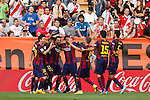 Barcelona´s players celebrate Neymar Jr´s goal during La Liga match between Rayo Vallecano and Barcelona at Vallecas stadium in Madrid, Spain. October 04, 2014. (ALTERPHOTOS/Victor Blanco)