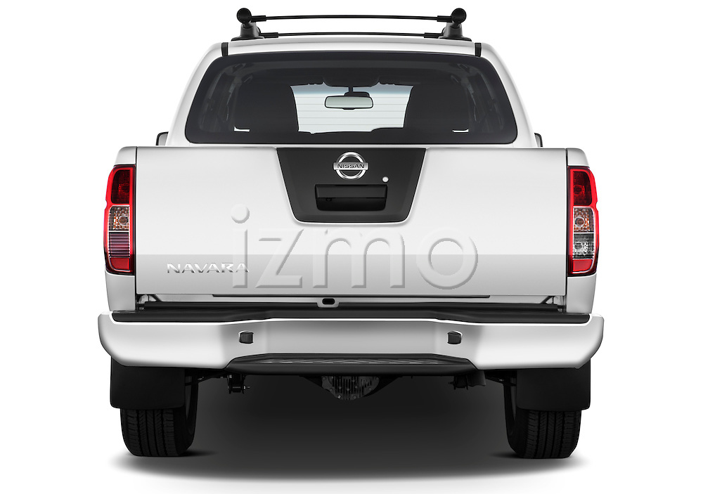Straight rear view of 2010 Nissan Navara LE 4 door Pick-Up Truck Stock Photo